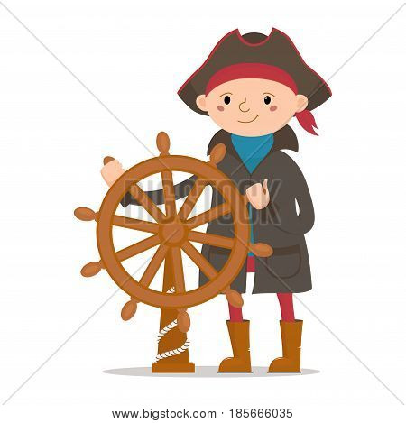 Little boy dressed as sailor, pirate captain holding ship steering wheel, cartoon vector illustration isolated on white background. Kid, boy pirate, sailor in raincoat and captain hat with ship wheel