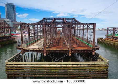 Boston Massachsetts USA - July 2 2016: Boston Northern Avenue Bridge. Built in 1908 it was closed to vehicle traffic in 1999
