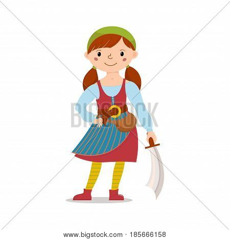 Little pirate girl in bandana and striped yellow tights holding sword, cutlass, cartoon vector illustration isolated on white background. Kid, girl in pirate costume standing with sword