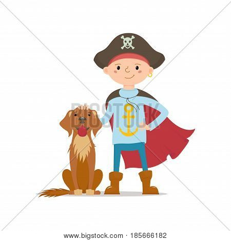 Little boy in pirate hat and cape standing with hand on his big dog head, cartoon vector illustration isolated on white background. Kid boy dressed as pirate, full length portrait with big brown dog