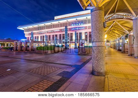 TAIPEI TAIWAN - APRIL 03: Night view of Taipei main station where many travelers come to take the train to other areas of Taiwan on April 03 2017 in Taipei