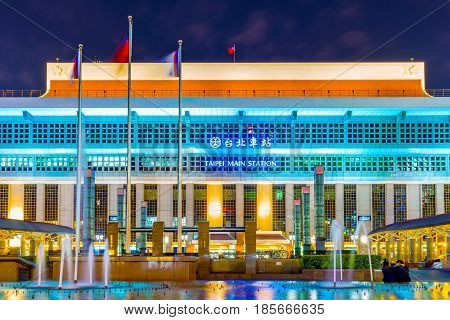 TAIPEI TAIWAN - APRIL 03: Taipei main station where many travelers come to take the train to other areas of Taiwan on April 03 2017 in Taipei