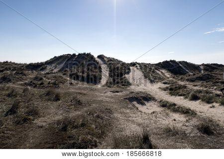 Sky blue sand dune on Fano island in the wadden sea Denmark.