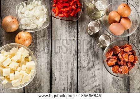 Tortilla De Patatas. Ingredients For Preparing Spanish Omelette