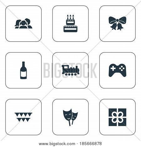 Vector Illustration Set Of Simple Celebration Icons. Elements Beverage, Resonate, Mask And Other Synonyms Theater, Actor And Locomotive.