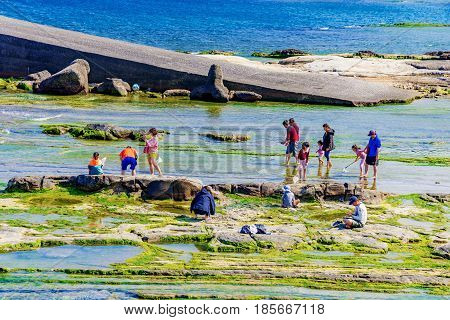 KEELUNG TAIWAN - APRIL 04: This is Badouzi seaside park where people come with to enjoy the seaside area and go fishing on April 04 2017 in Keelung