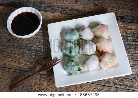 Steamed chives dumplings with garlic chives taro and bamboo shoot.