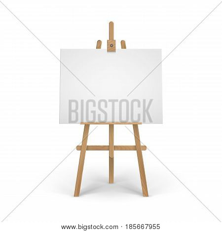 Vector Wooden Brown Sienna Easel with Mock Up Empty Blank Canvas Isolated on Background