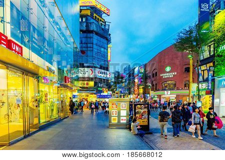 TaIPEI TAIWAN - MARCH 30: This is Ximending shopping district at night. It is a popular shopping and entertainment area in Taipei on March 30 2017 in Taipei