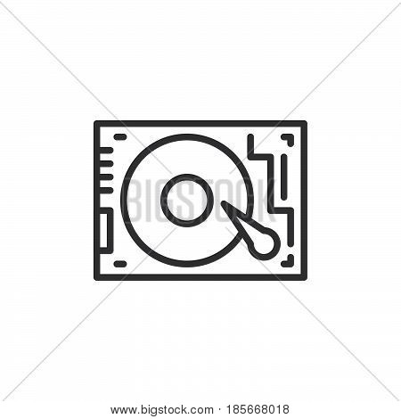 HDD Hard disk drive line icon outline vector sign linear style pictogram isolated on white. Symbol logo illustration. Editable stroke. Pixel perfect