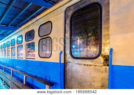 TAIPEI TAIWAN - APRIL 18: This is a Taiwanese train carriage model which shows a typical Taiwanese style train outside Taipei main station on April 18 2017 in Taipei