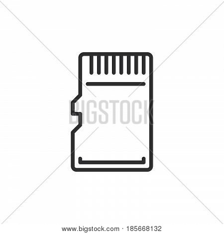 Micro SD Card line icon outline vector sign linear style pictogram isolated on white. Symbol logo illustration. Editable stroke. Pixel perfect