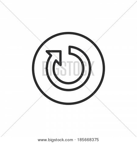 Reset button line icon outline vector sign linear style pictogram isolated on white. Symbol logo illustration. Editable stroke. Pixel perfect