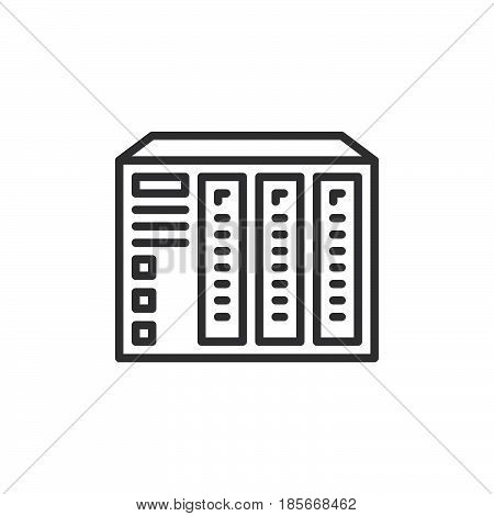 NAS server line icon outline vector sign linear style pictogram isolated on white. Symbol logo illustration. Editable stroke. Pixel perfect