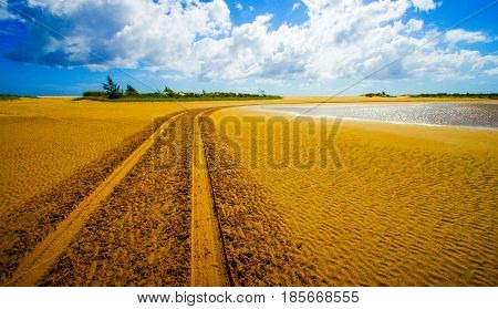Tire tracks with soft sand in Mozambique