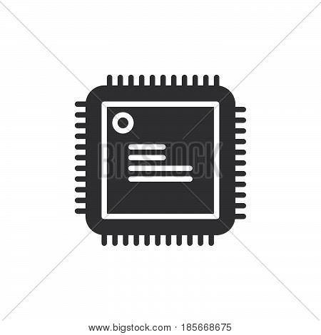 Cpu processor icon vector filled flat sign solid pictogram isolated on white. Symbol logo illustration. Pixel perfect