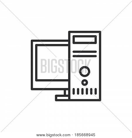 Desktop computer workstation line icon outline vector sign linear style pictogram isolated on white. Symbol logo illustration. Editable stroke. Pixel perfect