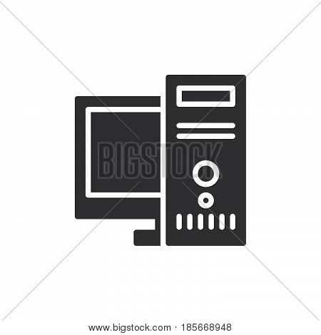 Desktop computer workstation icon vector filled flat sign solid pictogram isolated on white. Symbol logo illustration. Pixel perfect