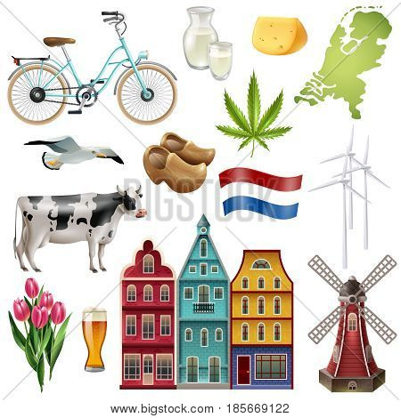 Holland netherlands travel icon set with most beautiful and popular attractions of the country vector illustration