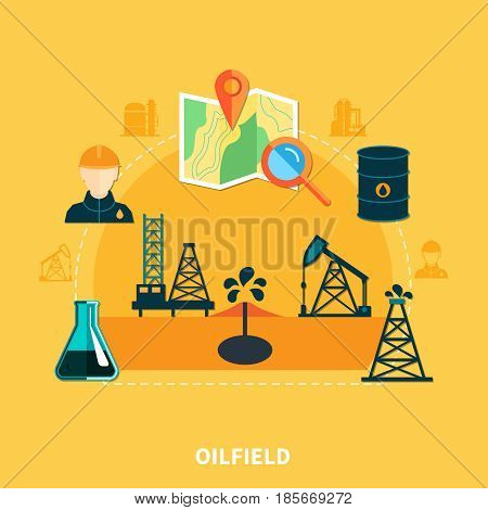 Oil industry composition with set of flat isolated oil well derrick pumping unit and map images vector illustration