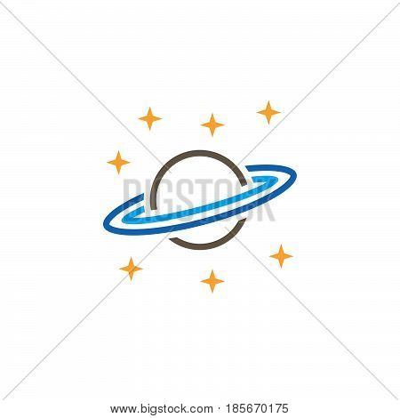 Astronomy Line Icon, Saturn Planet Outline Vector Logo, Linear Pictogram Isolated On White, Pixel Pe