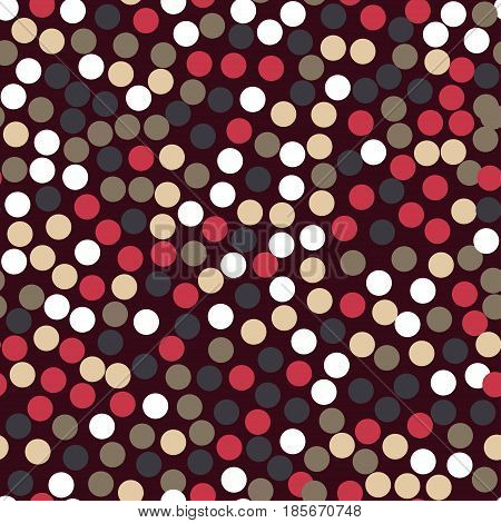 Abstract Seamless Pattern Background With Dots And Circles. Brown, Red, Beige And White Rounds On Da