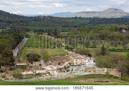 View Of Well Known Tuscanian Spa Town Saturnia