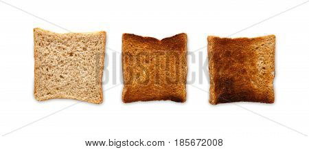Toast cooked and burnt. Degree of toastiness isolated on white background