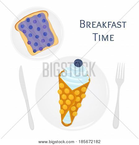 Belgian or chinese waffle with cream, berries, toast with blueberry jam. Made in cartoon flat style. Tasty breakfast illustration.