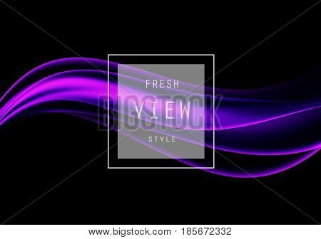 Abstract smooth design template with purple transparent wavy lines in dynamic elegant soft style on dark background. Vector illustration