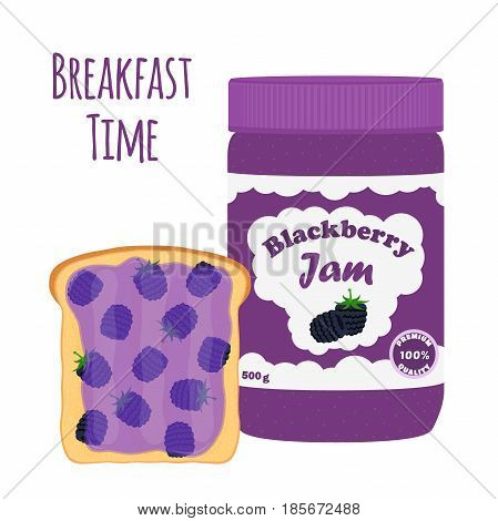 Blackberry jam in glass jar, toast with jelly. Made in cartoon flat style. Healthy nutrition.