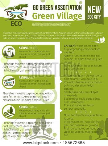 Green village and eco gardening vector poster for urban horticulture and planting company or association. Design of parklands or woodlands nature landscaping symbols of trees and greenery