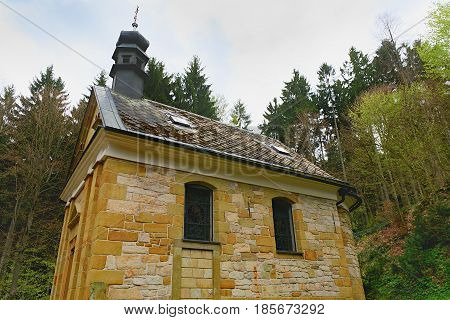 Chapel in the forest. Christian chapel. Closeup