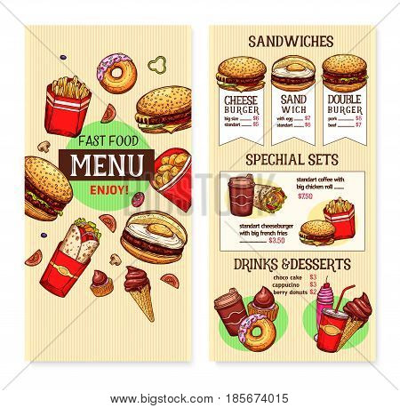 Fast food vector menu for burgers, hamburgers and cheeseburgers. Price for fastfood snacks, meals and desserts french fries and hot dog combo, pizza, soda drink and coffee or ice cream dessert