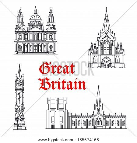 Great Britain architecture and British famous landmark buildings. Vector isolated icons and facades of Clock Tower, St Mungo, St Paul and Sheffield Cathedral in London