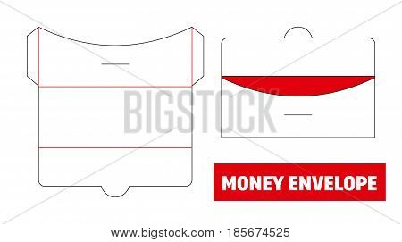 Money Envelope Die Cut, Stamp. Empty Shablon Template. Vector Black Isolated Circuit. Gift For Weddi