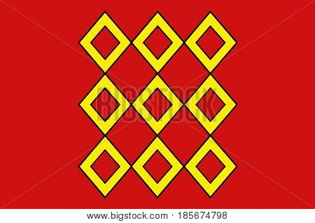 Flag of Pontivy is a commune in the Morbihan department in Brittany in north-western France. Vector illustration