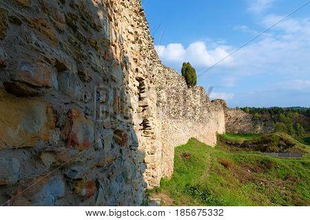 Ruins Of Fortification (bulwark). Medieval Rampart