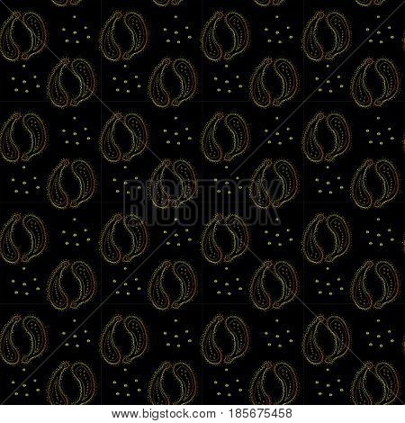 Raster seamless pattern with golden paisley on black solid background.