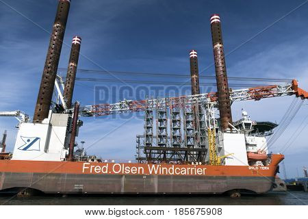 ESBJERG DENMARK - MAY 3 2017: Fred. Olsen Windcarrier in Esbjerg harbor. View from ferry from Esbjerg to Fano in the Danish wadden sea. May 3 2017.