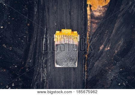 Coal mining at an open pit from above.