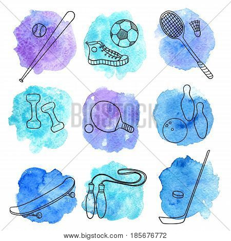 vector sport doodle set, isolated hand drawn design elements at blue watercolor background