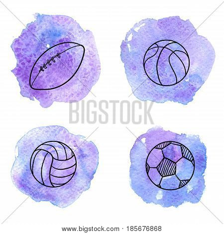 vector doodle se of different balls, isolated hand drawn design elements at blue watercolor background