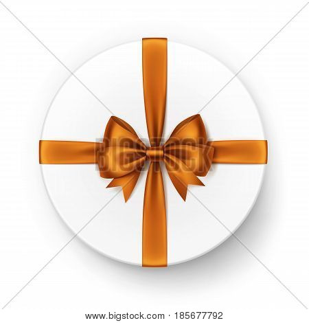 Vector White Round Gift Box with Shiny Orange Satin Bow and Ribbon Top View Close up Isolated on White Background