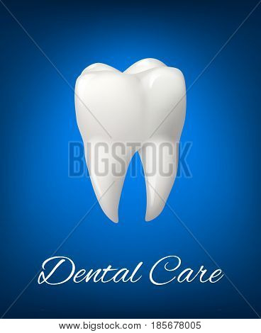 Tooth 3D realistic vector isolated icon for dental office or dentistry healthcare or dentist clinic. Symbol of healthy white clean tooth for toothpaste or medical teeth treatment product design poster