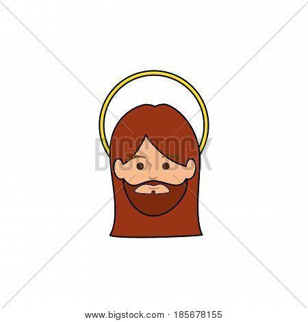 jesus christ face icon over white background. colorful design. vector illustration