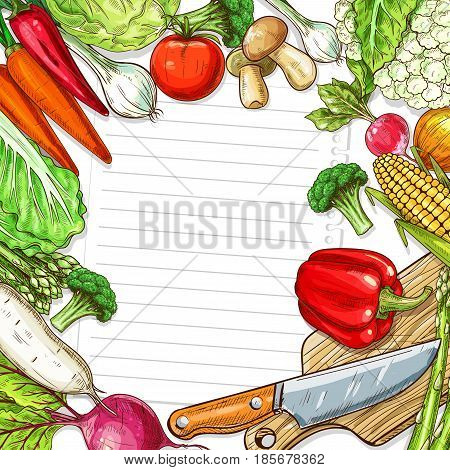 Recipe blank paper note with vegetables design for kitchen memo. Vector veggies frame of tomato, corn and mushrooms, radish or beet and pepper, broccoli or cauliflower with knife on cutting board