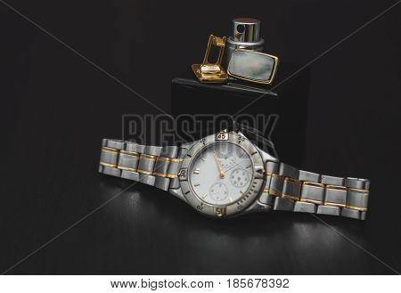 men's accessories. Perfume with Cuff and watch
