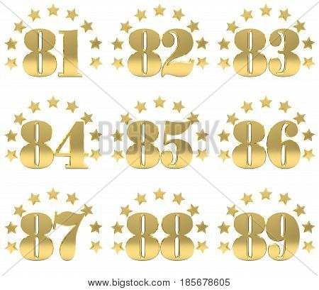Set of golden digit from eighty one to eighty nine decorated with a circle of stars. 3D illustration