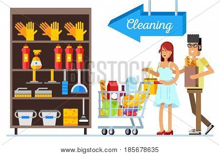 Flat illustration for shop, supermarket. Happy young couple with supermarket basket full of meal. Man and woman make purchases.